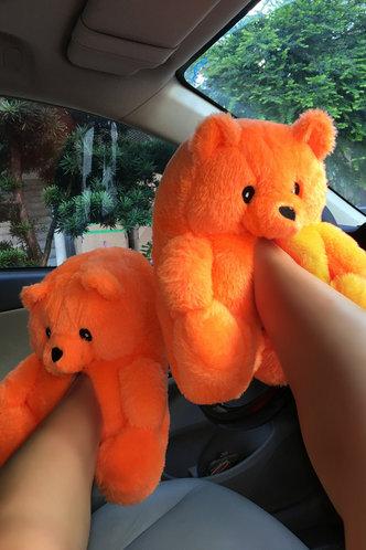 front_Plain Flat Orange Slippers
