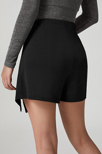 back_Dale Elaine Casual Black Zip Up Shorts