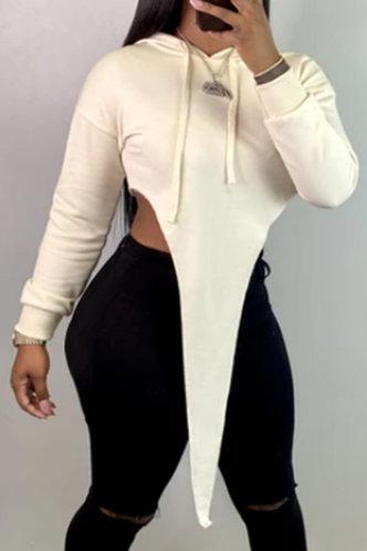front_Rita Evangeline White Hoodie
