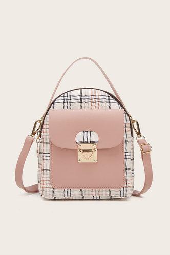 front_Plaid Pink And Plaid Bagpacks