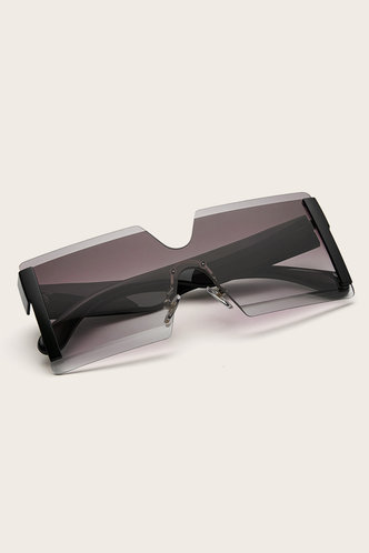 back_Tracy Elsie Black And Gold Square Rimless Sunglasses