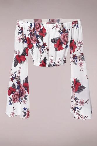 back_Life Is Rosy White Multicolor Floral Crop Top