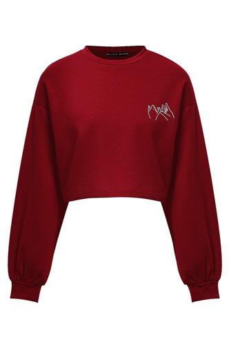 front_Burn Rubber Red Crop Sweatshirt
