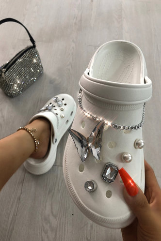 front_Laverne Eudora White Vented Clog With Charms