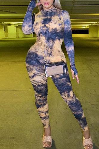 front_Round Neck Blue Tie Dye Jumpsuits