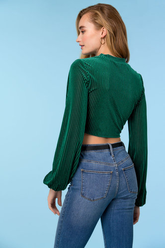 back_So Far So Good Dark Green Velvet Top
