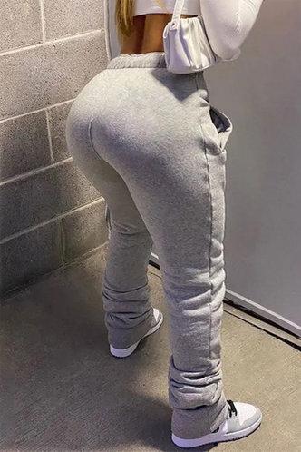 back_Mid Waist Solid Color Light Grey Plus Size Pants