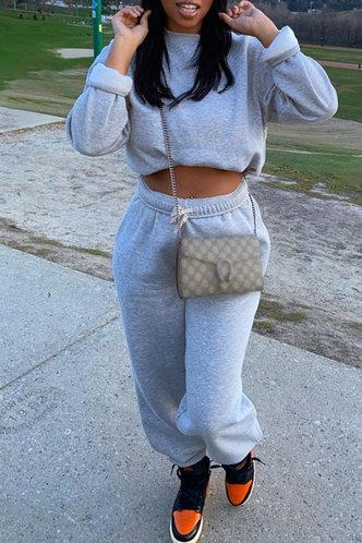 front_Plain  Elastic Waist Light Grey Pants Sets