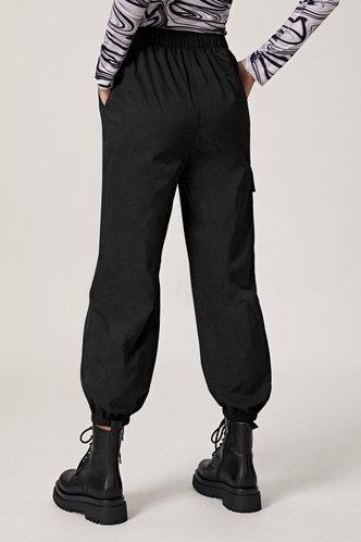 back_Ann Elsie Chic Solid Color Spandex  Black Sweatpant