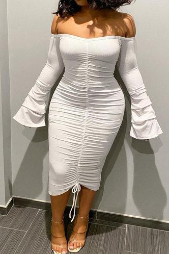 front_Chloe Emma White Plus Off Shoulder Drawstring Front Dress
