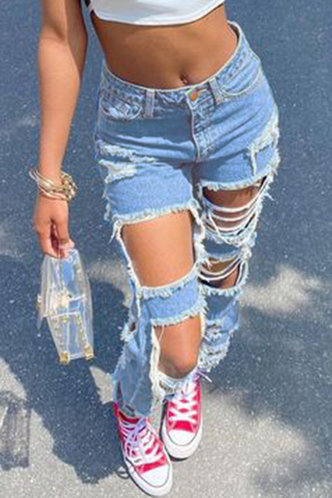 front_High Waist Straight Leg Wash Blue Women Jeans
