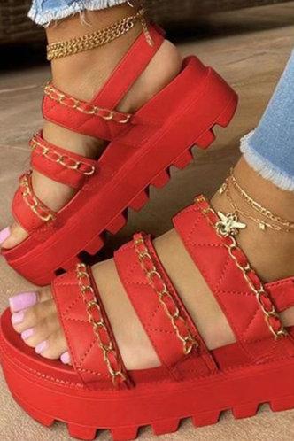 front_Laverne Emma Red Wedge Sandals