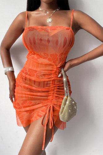 front_Georgia Marsaus Orange Drawstring Side Cami Bodycon Dress