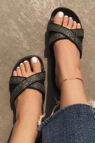 front_Caroline Montril Silver Slide Sandals
