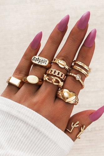front_Jenifer Elsa Gold Rhinestone Charm Ring 10pcs