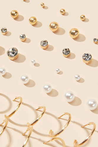 back_Sabina Edith Gold Faux Pearl & Rhinestone Decor Earrings 20pairs