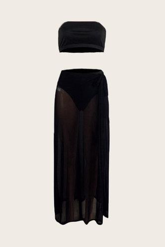back_Off the Shoulder Solid Color See-through Black Bikini Sets