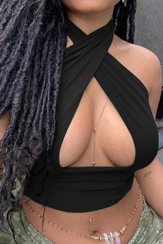 front_Mariana Evangeline Black Tank Top