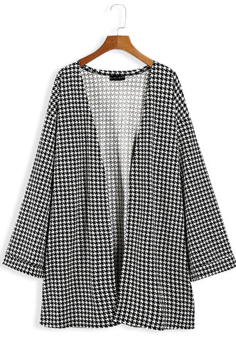 front_Alexia Elaine Black And White Houndstooth Open Front Coat