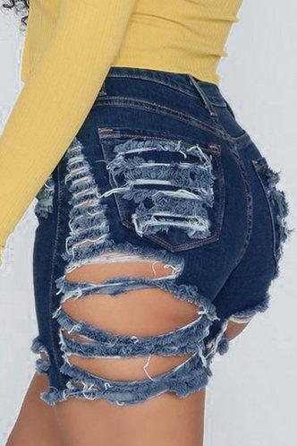 front_Marina Edith Blue Denim Ripped Shorts