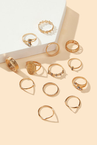 back_Sonya Elsa Gold Rhinestone Decor Ring 13pcs