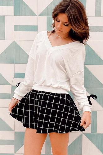 front_Not Today Black Plaid Skater Skirt