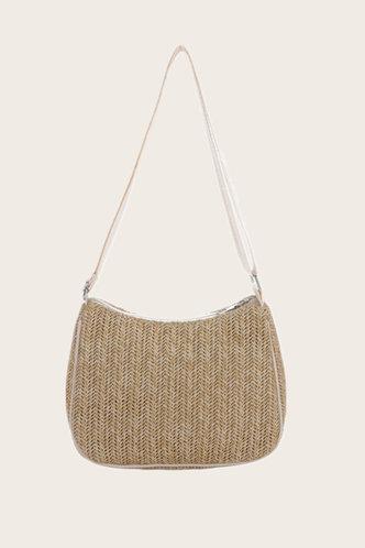 front_Solid Color Zipper Up Beige Shoulder Bags