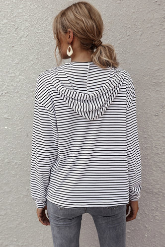 back_Prunella Black And White Stripe Hoodie