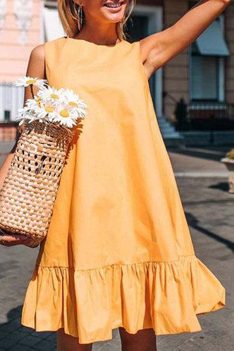 front_Dinah Junul Yellow Ruffle Cuff Flounce Hem Smock Dress