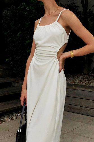 front_Elinor Emma White Tie Back Cutout Dress