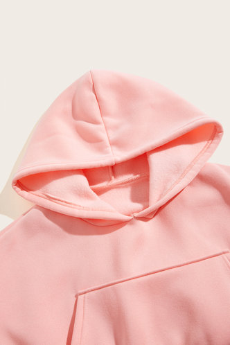 back_Plain Pocket Drawstring Pink Pants Sets