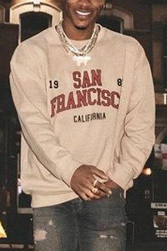 front_Street Letter Khaki Men Sweatshirts & Hoodies