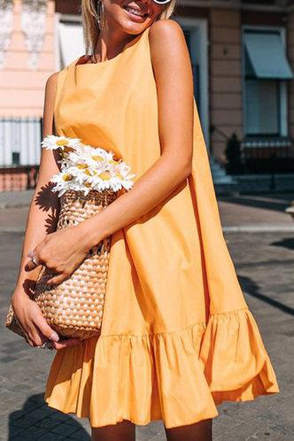 back_Dinah Junul Yellow Ruffle Cuff Flounce Hem Smock Dress