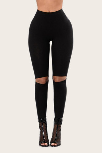 front_Hollow Out  Black Leggings