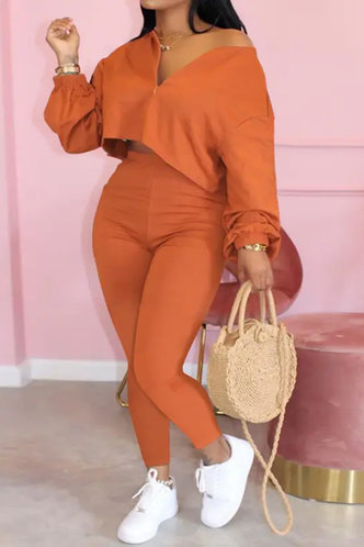 front_Elastic Band Pullover and Orange Plus Size Pants Sets