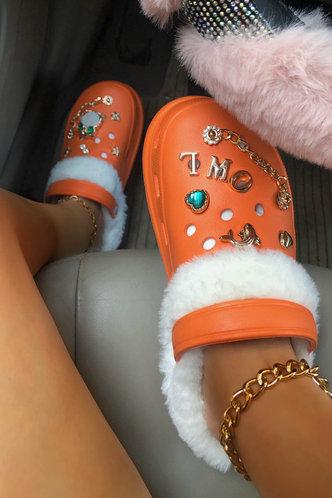 back_Round Toe Flat Orange Sandals