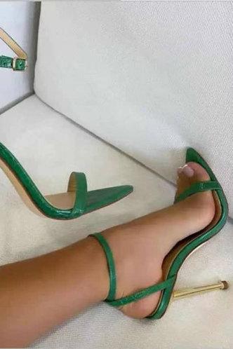 front_Carolyn Enid Green Heeled Sandals