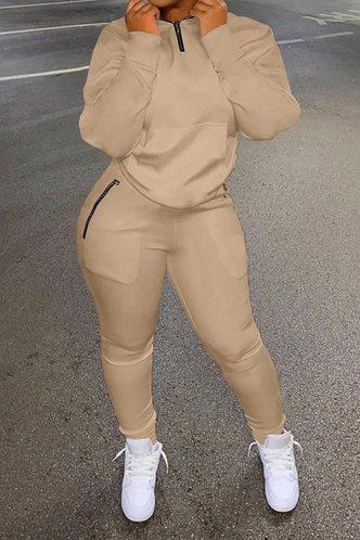 front_Chappell Flugil Khaki Plus Size Pants Set
