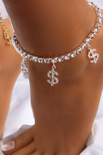 front_Lucilla Esther Silver Anklet Chain
