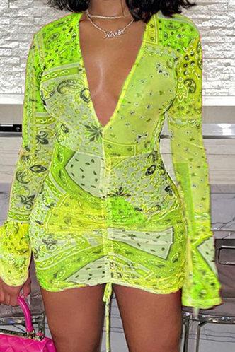 front_Estelle Elma Yellow Multi Print Tie Front Bodycon Dress