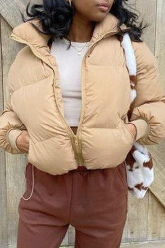front_Casual Collar Neck Plain Pocket Khaki Outerwear