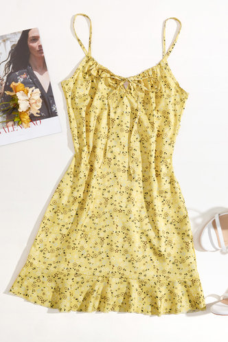 back_May Elaine Yellow Floral Print Frill Trim Cami Dress