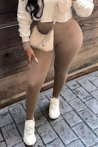 back_High Waist Pencil Pants Brown Pants