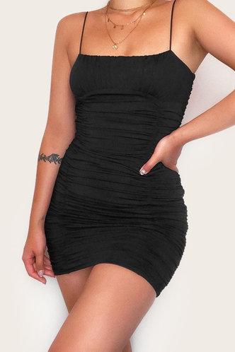 back_Dagmar Elaine Black Bodycon Ruched Dress