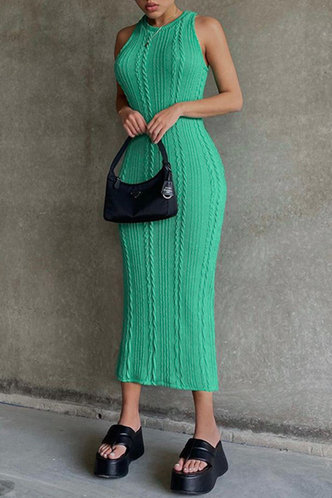 front_Daily Vacation Long Sleeveless Crew Neck Green Dresses