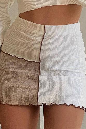 front_Geraldine Elsa Beige Colorblock Skirt