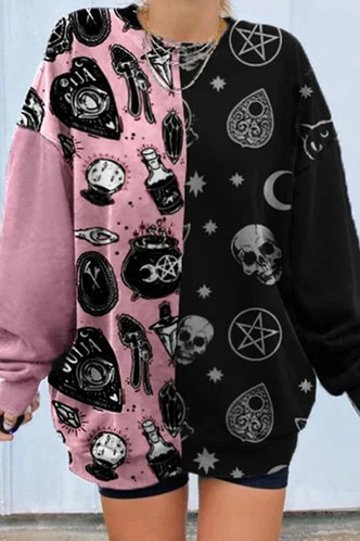 front_Sporty Crew Neck Graphic  Pink And Black Sweatshirts & Hoodies