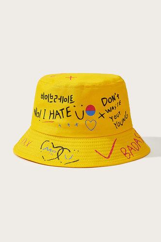 front_Jamie Eden Yellow Letter Print Bucket Hat