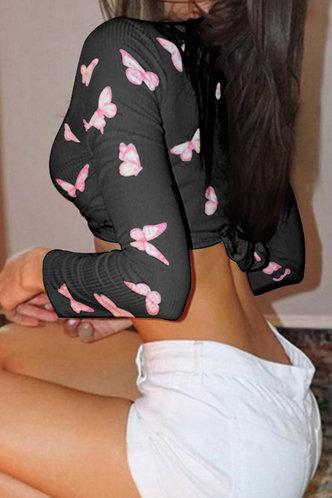 back_Nadine Elsie Black Butterfly Print Knot Front Crop Top