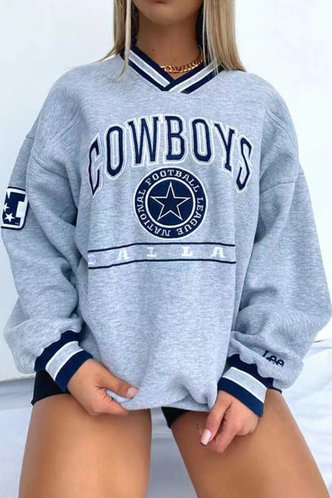 front_V-Neck Letter  Pullover Light Grey Sweatshirts & Hoodies